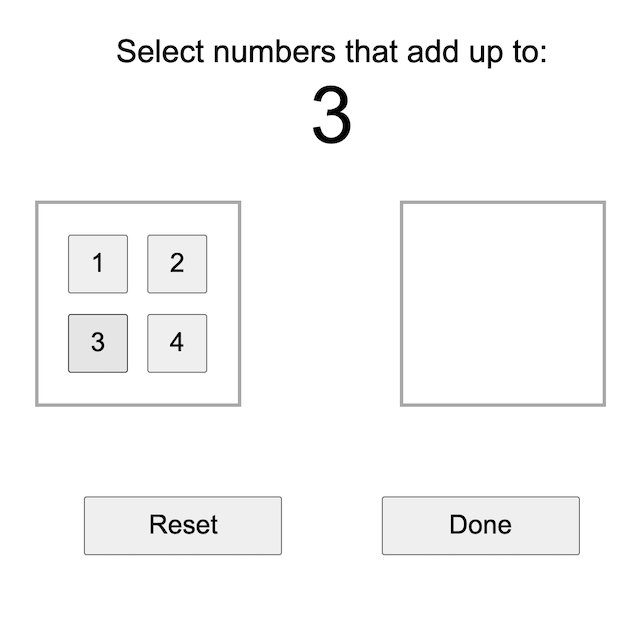 screenshot of the simple calculation game